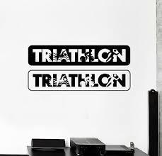 Ig4841 Vinyl Wall Decal Triathlon Sports Running Swimming Cycling Stickers