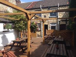 beer garden showing the back of the