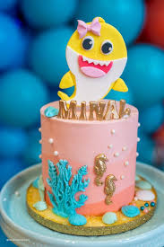 cake from a baby shark birthday party