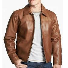 whole classy brown leather jacket