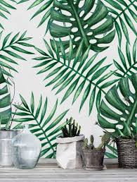 Green Watercolor Monstera Palm Leaf Self Adhesive Wallpaper Etsy Palm Leaf Wallpaper Leaf Wallpaper Botanical Wallpaper