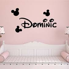 Custom Kids Name Mickey Minnie Mouse Cartoon Wall Sticker Vinyl Home Decor Nursery Room Baby Decals Personalized Name 4057 Leather Bag