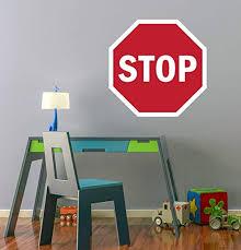 Amazon Com Lovely Decals World Llc Stop Sign Wall Decal Transit Kids Bedroom Art Decor Vinyl Mural Sticker Ld25 14 W X 14 H Home Kitchen