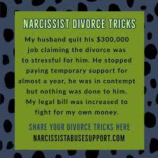 narcissist divorce tricks narcissist