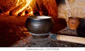 traditional russian stove cooking food