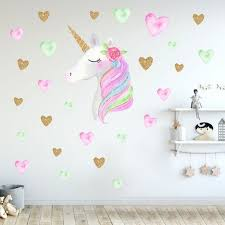 Cartoon Unicorn Wall Sticker Allochild Unicorn Room Decor Wall Stickers Wallpaper Heart Wall Stickers