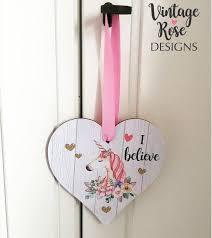 Girls Unicorn Room Door Hanging Heart Unicorn Gift Pink Etsy