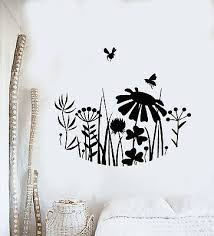 Vinyl Wall Decal Meadow Flowers Grass Bees Nature Bedroom Stickers Mural G3237 Ebay