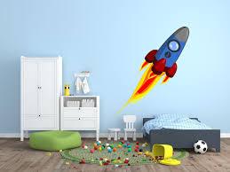 Blue Space Rocket Wall Decal Canvas Art Rocks
