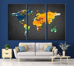 Large Wall Art Yellow And Blue World Map On Dark Gray Background Canvas Print Mygreatcanvas Com Extra Large Wall Art Wall Art Print Large World Map Canvas Print Gallery