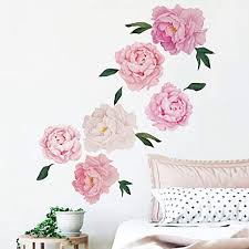 Amazon Com Runtoo Flower Wall Decals Peony Rose Wall Stickers Floral Wall Art Home Decoration Living Room Bedroom Tv Wall Decor For Baby Nursery Kitchen Dining