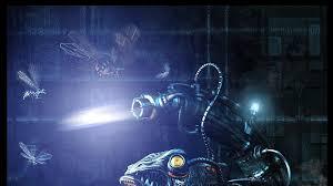 robot cyberpunk digital art hunting 3d