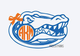 Florida Gators With Bow Monogram Vinyl Decal Monogram Decal Florida Decal Florida Gators Car Decal Yeti Monogram Vinyl Decal Monogram Decal Football Decal