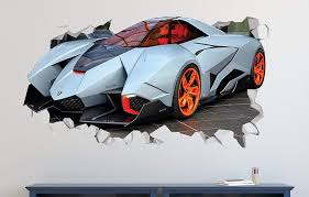 Amazon Com Lamborghini Stylish Expensive Wall Decal Smashed 3d Sticker Vinyl Decor Mural Sport Car Broken Wall 3d Desi Vinyl Decor Vinyl Sticker 3d Design