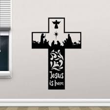 Religion Vinyl Wall Sticker Removable Jesus Christ Is Born Cross Wall Decal Home Bedroom Decor Vinyl Wall Art Mural Ay0212 Wall Stickers Aliexpress