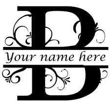 Letter B Floral Initial Monogram Family Name Vinyl Decal Etsy