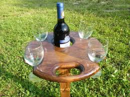 outdoor wine table with glass holders