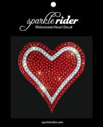 Amazon Com Sparkle Rider Rhinestone Decal Stickers Heart Shape Unique Girly Accessory Gift For Her Women Wedding Waterproof Bling Decor For Car Motorcycle Helmet Wall Window 4 5 Inch Red Silver Kitchen Dining