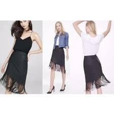 asymmetrical faux leather fringe skirt