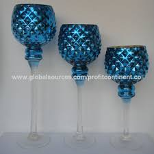 china s 3 molded goblet blue glass