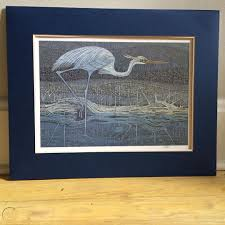 Ila Smith Signed Heron Crane Art Print Outer Banks Hatteras Island ...