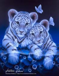 white baby tiger painting by kentaro
