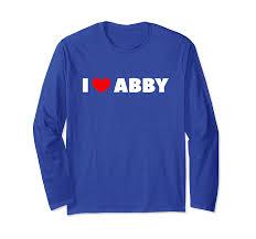 Amazon.com: I Love Abby Long Sleeve T-Shirt: Clothing