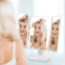 trifold led makeup mirror with touch