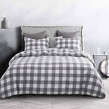 wake in cloud gray plaid comforter