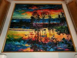 Daniel Wall Painting Lake Afternoon Giclee On Canvas Hand Embellished Signed Ebay