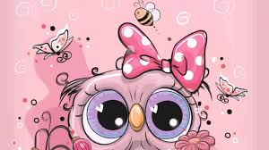 pink baby owl animated wallpaper cute