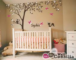Nursery Tree Decal With Forest Animals And Flying Birdswallconsilia Com