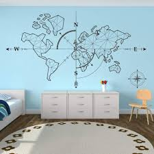 Amazon Com Wall Stickers Murals Large World Map Compass Earth Wall Sticker Office Classroom World Map Travel Global Exploration Adventure Wall Decal Vinyl Decor Kitchen Dining
