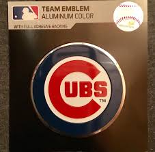 New 2018 Very Sharp Mlb Chicago Cubs Auto Car Decal Emblem Silver Highlighted The Team Merchandise Storethe Team Merchandise Store