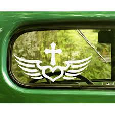 The Decal And Sticker Mafia 2 Christian Cross And Wings Decals Religion Stickers For Car Window Bumper Rv