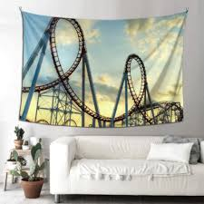 Amazon Com Thkdsc Wall Decor For Kids Roller Coaster In Funny Bedroom Tapestry Wall Art Kitchen Decor 90x60 Inches 229x152cm Wall Hanging Art Home For Living Room Bedroom Home Kitchen