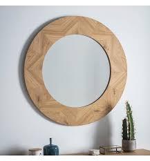 milano round wooden mirror 90 x 90cm