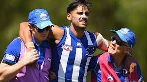 AFL: Aaron Hall leaves field in trainers hands after knee injury ...