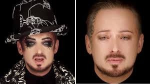 boy george strips off makeup in new
