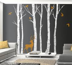 Birch Trees Wall Decal Winter Trees Wall Decal Deer Wall Decal Styleywalls On Artfire