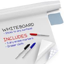 Kassa Large Whiteboard Sticker Roll 18 X 78 6 5 Feet 3 Dry Erase Board Markers Included Big White Boards For Wall Refrigerator Desk Office Kids Room White