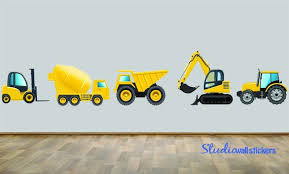 Construction Dump Truck Wall Decal Set Of Five Reusable Wall Etsy