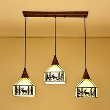 pendant light with dear 3 lights rustic