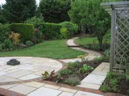 sloping garden design accent garden