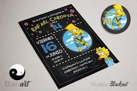 Invitacion Imprimible Bart Simpson 90 00 En Mercado Libre
