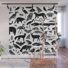 Linocut Animals Nature Inspired Printmaking Black And White Pattern Nursery Kids Decor Wall Mural By Monoo Society6