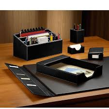 morgan desk set six pieces leather