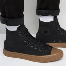 converse shoes leather hitop gum sole