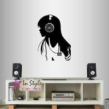 Vinyl Decal Pretty Girl With Headphones Music Girls Teen Room Wall Sticker 1283 Ebay