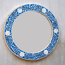 beautiful colored round wall mirror